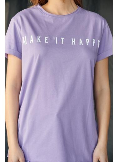 Levure Önü Baskılı Yanları Yırtmaçlı T-Shirt Lila